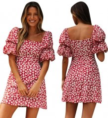 Summer Floral Mini Dress with Pop Sleeves