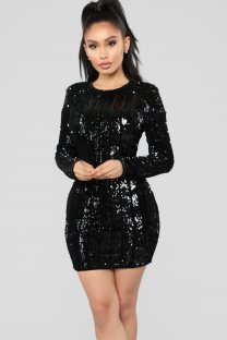 Black Sequins Round Neck Long Sleeve Mini Dress