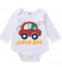 Baby Boy Print White Long Sleeve Underwear Rompers