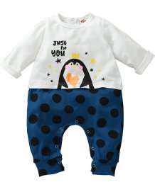Baby Boy Print Long Sleeve Rompers