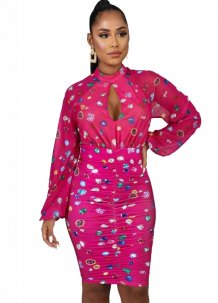 Print Keyhole Ruched Dress with Sleeves