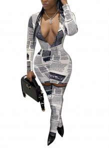 Print Deep-V Sexy Long Sleeve Bodycon Jumpsuit