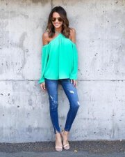 Off-Shoulder Green Chiffon Halter Tops 21093-3