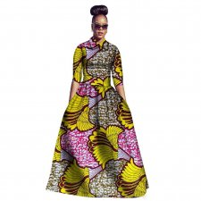 Print Elbow Sleeve Skirt Two Pieces Traditional Custom African Clothing 22483-4