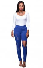 Cut-Out High Waist Strech Jeans 23653-6
