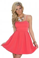 Red Spaghetti Straps Skater Dress 16804-2