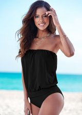 Black Strapless One Piece Swimsuit 19332-1