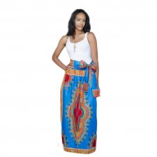 White Tank Shirts and Blue Maxi Dashiki Skirts 21312