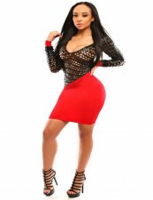 Red Black Leatherette Fishnet Bodycon Dress 14909-2