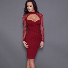 Sexy Patchwork Lace Wired Bandage Dress 23874-1
