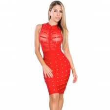 Red Studded Mesh Sleeveless Bodycon Dress 24829-2