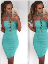 Solid Color Lace-up Halter Bandage Dress 25349-2