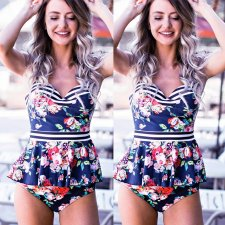 Floral Straps Swimming Dress with Brief Bottom 26055