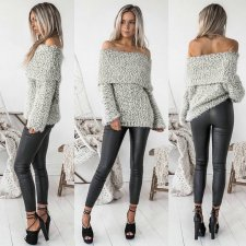 Turndown Shoulder Sexy Sweaters 26479-1