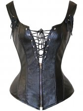 Sexy Black Lace-Up and Zipped Leather Corset 26940