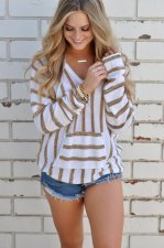 V-Neck Stripped Pullover Sweaters 27068-4
