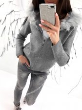 Gray Jacket with Fur Hood 27603-2