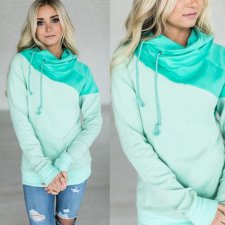 Green Patchwork Hoody Tops 27359-1