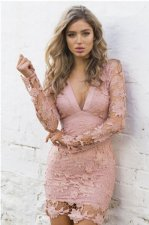 V-Neck Lace Dress with Cut-Out Back