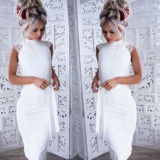 White Lace Short Prom Dress
