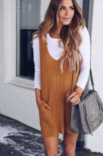 Plain Color Knitted Vest Dress with Pockets