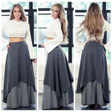 Block Color High Low Maxi Skirts