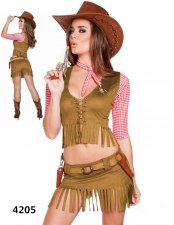 Tribal Woman Top and Skirts with Belt, Necklace, and Hat