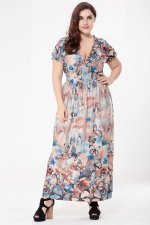 Plus Size Print Butterfly Maxi Dress