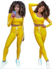 Yellow Sports Tight Shirt and Leggings