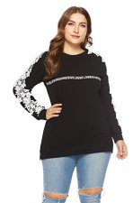Plus Size Long Sleeve Detailed Black Shirt