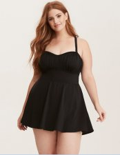 Plus Size One Piece Black Swimwear