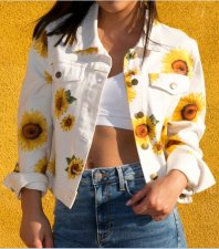 Sun Flower White Denim Jacket