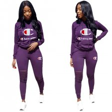Print Letter Ripped Hoody Jogger Suit