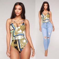 Print Retro High Cut Bodysuit