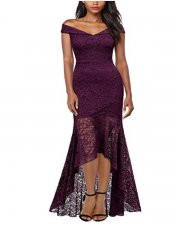 Open Shoulder High Low Mermaid Lace Evening Dress