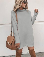 Plain Color Mini Sweater Dress with Side Split