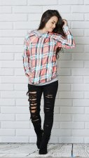 Block Color Plaid Hoody Top