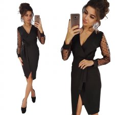 Black Wrapped Club-jurk met mesh-mouwen