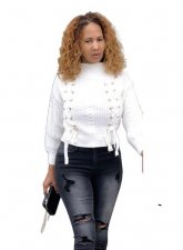 White Color Long Sleeve Sweater with Lace up