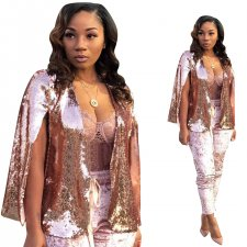 Sequins Pink Party Coat with Ripped Sleeves