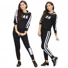 White and Black Print Long Sleeve Sweat Suit