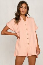 Botton Up Short Sleeve Resort Rompers