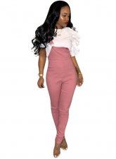 Casual Pink Long Bib Pants