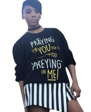 Print Black Long Sleeve Sweat Shirt