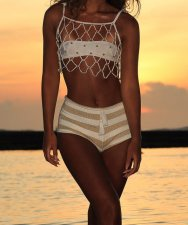 White Rhinestone Hollow Out Beach Top