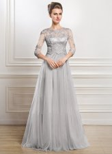 Lace Upper Gray Evening Dress with 3/4 Sleeves