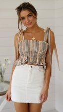 Fit-and-Flare Straps Stripped Top