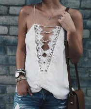 Lace-Up Straps Lace Basic Top