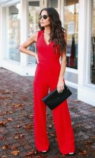 Red Sleeveless V-Neck Jumpsuit