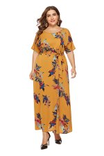 Plus Size Short Sleeve Flower Maxi Dress